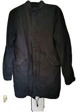 All Saints Depot Black Waxed Mandarin Collar Fishtail Parka Pretty Green  SizeM