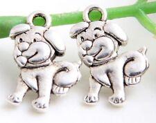 22Pcs Tibetan Silver Dog Charms Pendants 17x12mm(Lead-free)