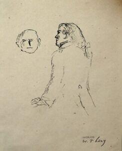 Wilhelm Thöny(1888-1949) Mann mit Zopf im Gespräch. signiert.1925
