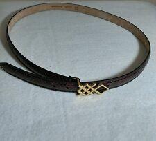 Burberry Women Belt Pembrook snakeskin Red Claret Size 36 (90 CM ) Retail $665