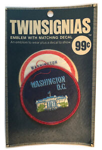 """1970'S WASHINGTON DC USA SOUVENIR 3"""" PATCH WITH DECAL TWINSIGNIAS IN PACKAGE"""