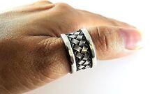 Mens Womens Sterling Silver 925 Basket Weave Amulet Boho Ethnic Thumb Ring Sz 8