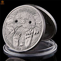 Antique Silver Wild Animals Mongolia Hemiechinus 500 Togrog 1 OZ Souvenir Coin