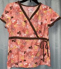 Koi By Kathy Peterson Scrub Top Size Medium 115Pr Mock Wrap Kathryn roses floral