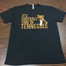 Mens T-Shirt Its Football Time In Tennessee Vols UT Shirt Gray Orange Graphics L