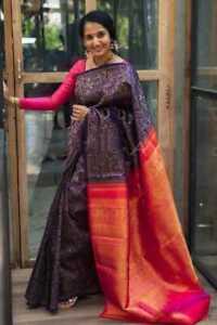 Designer Indian Stylish Wedding Saree Multicolor Banarasi Cotton SIlk Saree