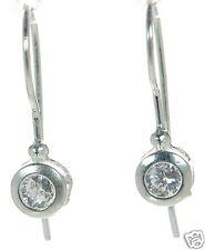 Clear Cz Drop Earrings ' Solid 925 Sterling Silver Bezel Set