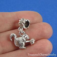 Silver SQUIRREL Dangle Bead CHARM Nature Critter Rodent fits EUROPEAN Bracelet