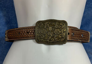 """NOCONA Brown Leather Cowgirl Western Bling Belt Gems Studs Size 22"""" Girls"""