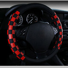 "15"" 38cm Black Red Grid No Smell Eco Leather Auto Car Steering Wheel Cover New"