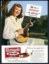 1947 Miss Rheingold Beer photo with mandolin vintage print ad