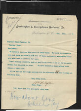 Washington and Georgetown Railroad - Price Request 1898