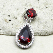 GORGEOUS 2 CT PEAR CUT GARNET RED 925 STERLING SILVER PENDANT