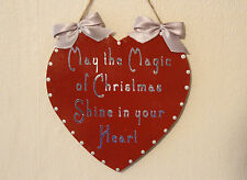 Decorative Hand-crafted Wooden Heart Sign MAGIC OF CHRISTMAS (Red/Silver)