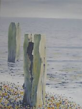 ORIGINAL SEASCAPE BEACH PAINTING ENTITLED GROYNES SIGNED BY ARTIST 18X24 INCHES