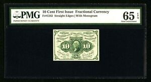 1862-63 10 CENTS FRACTIONAL CURRENCY FR1242 CERTIFIED PMG GEM UNCIRCULATED-65EPQ