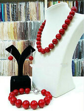 Real natural 14MM red shell pearl necklace 18 '' bracelet 7.5 ''earrings