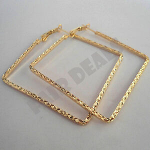 Square Shape 18K 50mm 5cm Gold Plated Big Large Hoop Golden Nickle Free Earrings