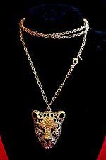 VINTAGE Elegante Tono Oro Donna Avon CATENA & Ciondolo testa di leopardo con cristalli