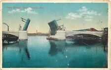 Tampa Florida~Kennedy Avenue Bascule Bridge Up~b1913 Edwards Construction Co