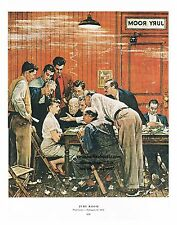 "Norman Rockwell courtroom print: ""JURY ROOM"" / ""THE HOLDOUT"" 11x15"" trial Lawyer"