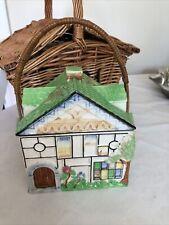 More details for vintage art deco house  biscuit barrel jar with cane handle