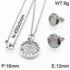 Stainless Steel Zircon Circle Pendant Necklace Earrings Set
