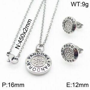 2021 New Stainless Steel Zircon Circle Pendant Necklace Earrings Set
