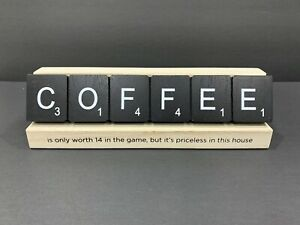 Wood Coffee Scrabble Sign