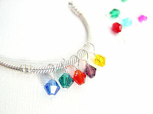 925 Silver Swarovski Birthstone Crystal Slide Dangle Charm fit European Bracelet
