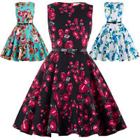 Girls Floral Dress Kids Summer Party Dresses Age 6~12 Years Swing Tea 4 Colors