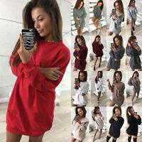 Womens Oversized Long Sleeve Pullover Hoodie Loose Baggy Tops Jumper Dresses UK