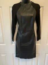 Reiss Black leather Elodie fitted dress with mesh  sleeves Size 4