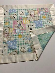 Boyd's Bear Pastel Patchwork Lovey w/Ivory Satin Binding-Gr8 Security Blanket