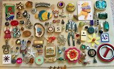 95 pc VINTAGE Jewelry LOT Trinkets Charms Craft ABALONE RHINESTONE AVON Pooh USA