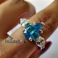 3 Ct Pear Cut Blue Topaz Diamond Three-Stone Engagement Ring 14K White Gold Over