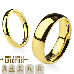 Steel / Gold IP Polished Ring Band Size 4.5,5,5.5,6,6.5,7,7.5,8,9,10,11,12,13,14