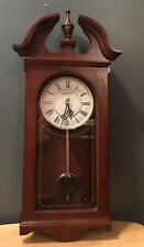 "Hampton Pendulum Wall Clock Glass Wood Quartz Cherry Finish 24"" BEAUTIFUL"