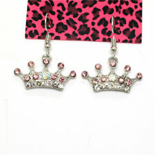 Crystal Betsey Johnson Women Earrings New Gorgeous Silver Plated Princess Crown