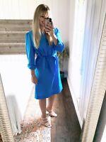Vintage Schrader Sport New York Size 14 Blue Half Button Puff Sleeve Dress Women