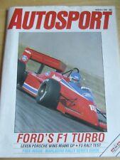 AUTOSPORT MAGAZINE MAR 1986 FORD'S F1 TURBO PORSCHE MIAMI GP F3 RALT TEST