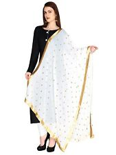 White Chiffon Dupatta Long Scarf Veil Party Pakistani Wedding Designer Stole