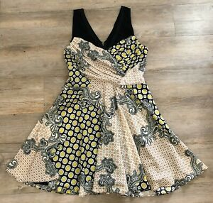 CUE fit n flare DRESS 12 full skirt DRAPED black white yellow peach swing flirty