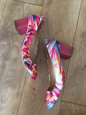 JCrew $268 Lucite Heels in Ratti Painted Pineapple 7 Neon Pink G4258 Shoes