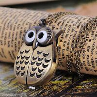GIFT 1PC Bronze Tone Pocket Watch Cute Owl Design Necklace Chain Pendant