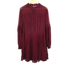 ASOS Burgundy Red New Year Embroidered Cut-Out Buttons Floaty Skater Dress UK 18