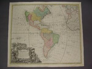 NORTH & SOUTH AMERICA MAP by HOMANN 1746
