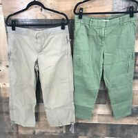 Lot of (2) Ann Taylor Loft Women's Tan & Green Cropped Pants Size 8 & 8P