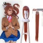 Women's Monika Long Straight Bangs Ponytail Orange Brown Cosplay Wig US Stock