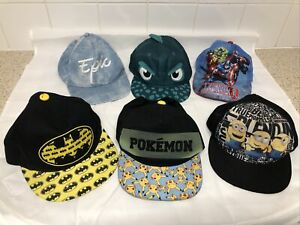 Job Lot Bundle Of 6x Kids Caps. Pokemon, Marvel, Minions, Batman,etc. Adjustable